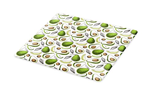 Lunarable Vegetables Cutting Board, Organic Avocado Leaves Detox Antioxidant Lifestyle Stay Young Print, Decorative Tempered Glass Cutting and Serving Board, Small Size, Lime Green Cocoa White