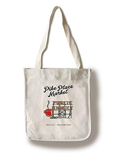 Lantern Press Seattle, Washington - Pike Place Market Sign (100% Cotton Tote Bag - Reusable) ()