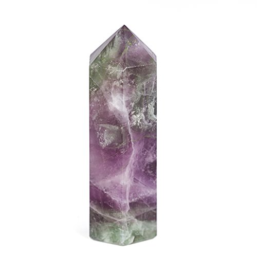 CYY Stone 75*20mm Crystal Point Scepter Large 3 Inch Wand Carved Healing Reiki 6 Sided Prism Style (Fluorite)