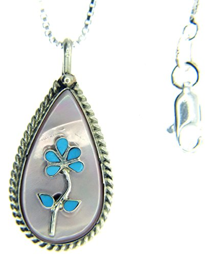 By Zuni Artist Rodney Lasiloo:Beautiful! Sterling-silver Navajo Tree of Life Turquoise/Mother of Pearl Pendant-necklaces(18 (Native Pearl Necklace)