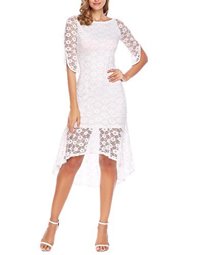 Floral Empire Mini - ANGVNS Women's Sexy See Through Floral Lace Open Back Empire Waist Wedding Mini Dress White XL