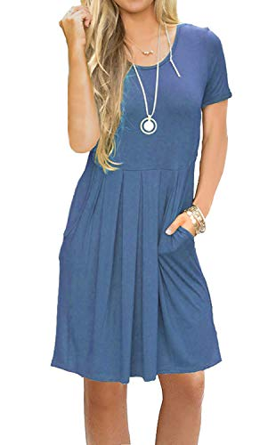 AUSELILY Women's Short Sleeve Pleated Loose Swing Casual Dress with Pockets Knee Length (L, Beja Blue)