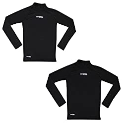 (Pack of 2) Rebel Active Boys Athletic Warm Dri-Fit Long Sleeve Shirt 10-11 Black