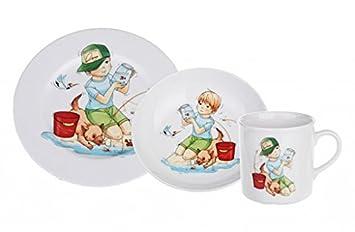 Pièces Enfants Assiette Déjeuner Bol 3 Porcelaine Set Jeunes Petit mN8Pv0wynO