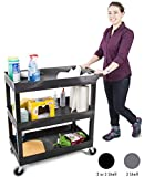 Original Tubstr 3 Shelf Utility Cart/Service Cart - Heavy Duty - Supports up to 400 lbs! - Tub Carts w/Deep Shelves - Great for Warehouse, Garage, Cleaning, More! (3 Shelf - 32 x 18) (Black)