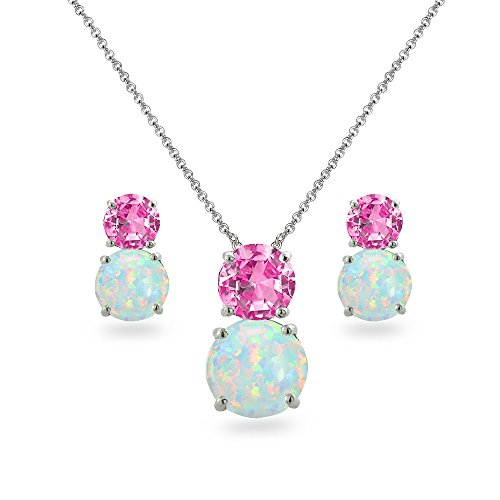 Pink Simulated Earrings Sapphire Necklace (Sterling Silver Created Pink Sapphire & Simulated Opal Double Round Stud Earrings & Necklace Set)