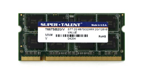 Super Talent DDR2-667 SODIMM 2GB/128 x 8 Value Notebook Memory T667SB2G/V by Super Talent