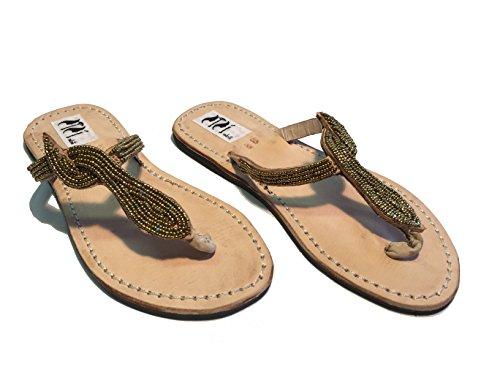 Women's sandals original flip flops Kenya with beads model snake gold unique handmade pieces