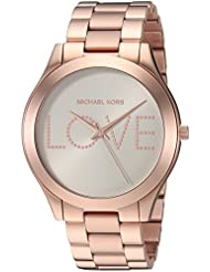 Michael Kors Womens Slim Runway Quartz Stainless Steel Casual Watch, Color:Rose Gold-Toned (Model: MK3804)