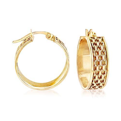 Ross-Simons 14kt Yellow Gold Bismark-Link Hoop Earrings