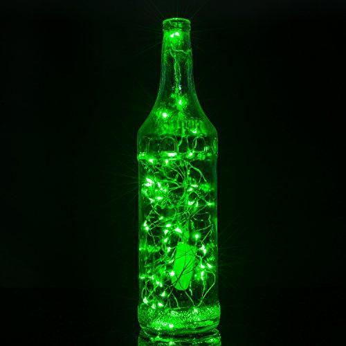 String Lights,Oak Leaf 2 Set of Green Micro 30 LEDs Super Bright Led Rope Lights Battery ...
