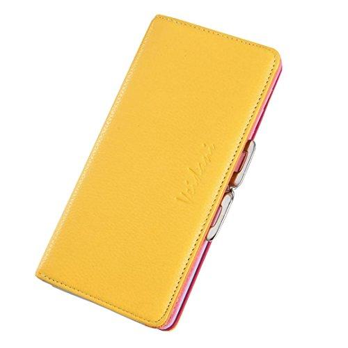 Bovake - Bolso mochila  de Piel para mujer amarillo