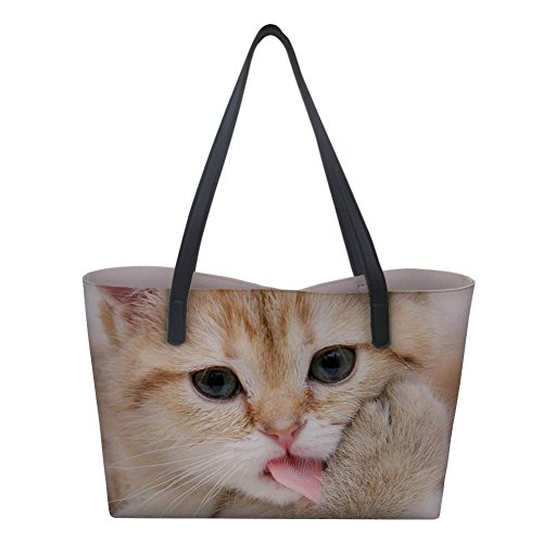 2 Large Showudesigns donna Borsa Cat a mano qUTFw