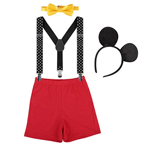 Baby Boys 1st Birthday Cake Smash Outfit Adjustable Y Back Suspenders Bowtie Bloomers Mouse Ears Headband Photo Costume Red + Black #a 12-18 Months -
