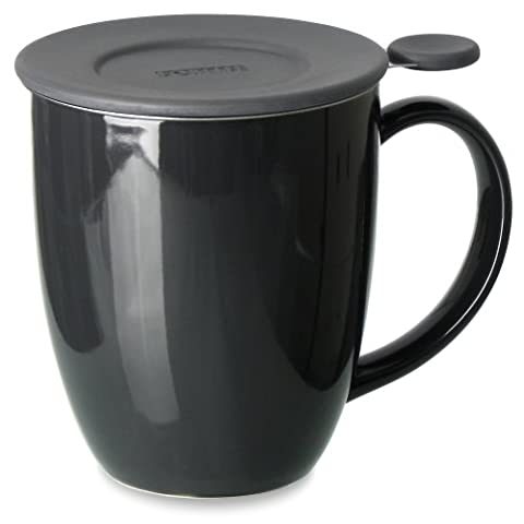 FORLIFE Uni Brew-in-Mug with Tea Infuser and Lid, 16-Ounce, Black Graphite