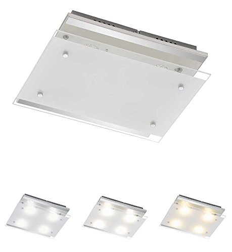 Trango LED Light Colour Control Ceiling Light Bathroom Light with On/Off Light Switch Color Temperature Can 3000/4000 K/Direct 230 V TG3622 048 [Energy Class A+] TG3160