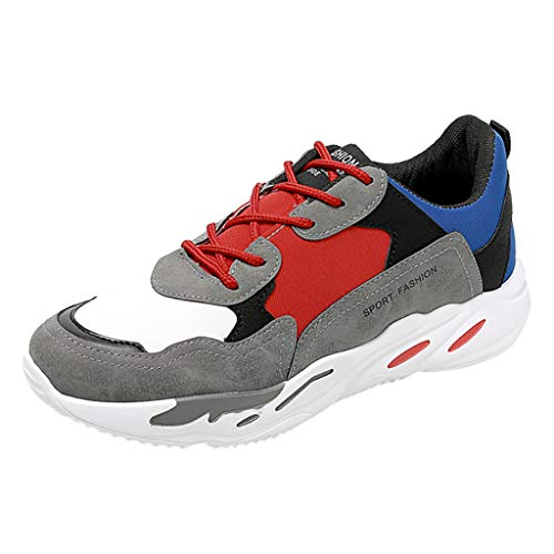 Running Shoes Men Canvas Sneakers Casual Running Students Jock Shoes Breathable Lightweight Sports Gym Shoes Gray ()