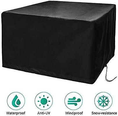 CosyInSofa Funda para Muebles de Jardín, Copertura Impermeable para Mesas Rectangular, Funda Protectora Anti-UV para Patio Muebles Sillas Sofás Mesas Cubierta de Exterior Oxford (126x126x74cm): Amazon.es: Jardín
