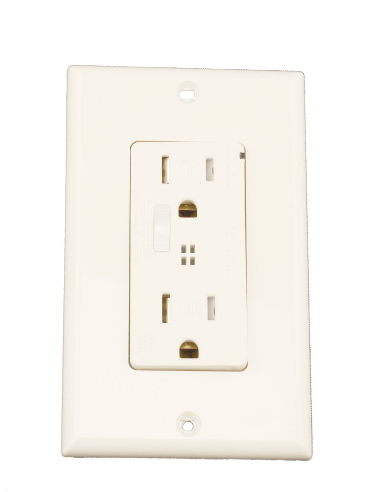 Leviton T7280-T 15-Amp, 125-Volt, Tamper-Resistant, Decora Plus Duplex Receptacle, Straight Blade, Commercial Grade, Self Grounding, Light Almond