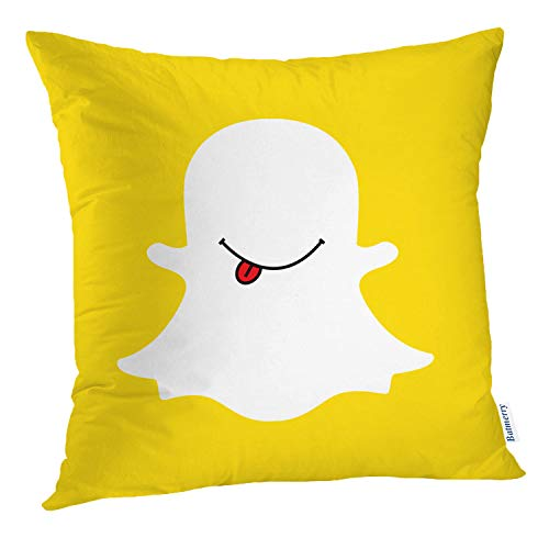 Batmerry Halloween/Thanksgiving Theme Decorative Pillow Covers 18 x 18 inch,Happy Chat Social Media Mouth Funny Internet Business Sign Adventure Throw Pillows Covers Sofa Cushion Cover Pillowcase -