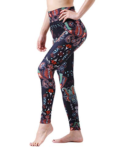 (Maxi Paisley Pattern Printed Popular Classic Design Style High Waist Floral Colored Leggings)