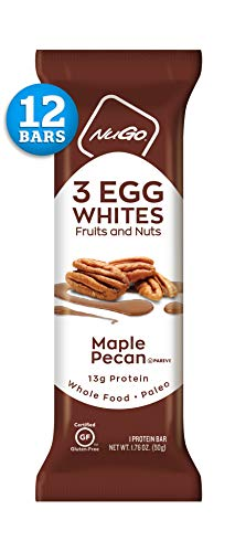 Bar Maple Pecan - NuGo Egg White Protein, Maple Pecan, 13g Protein, 200 Calories, Fruit and Nut, Paleo, Gluten Free, 12 Count
