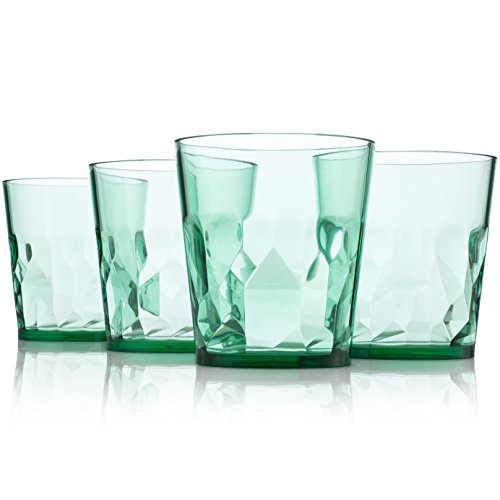8 oz Premium Juice Glasses - Set of 4 - Unbreakable Tritan Plastic - BPA Free - 100% Made in Japan (Green)