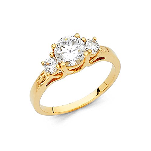 14k Yellow Gold 3 Band - Paradise Jewelers 14K Solid Yellow Gold CZ Three Stone Engagement Ring Anniversary Round Solitaire Three Stone Band, Size 9.5