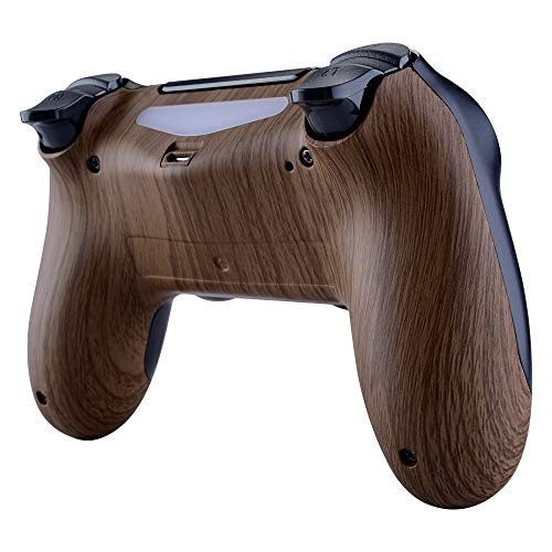 eXtremeRate Wood Grain Bottom Shell, Soft Touch Back Housing Case Cover, Game Improvement Replacement Parts for Playstation 4 PS4 Slim Pro Controller JDM-040, JDM-050 and JDM-055 (Cover Shell Case Ps4)