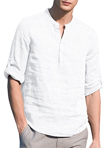 SySea Mens Casual V Neck Cotton Linen 3/4 Sleeve Hippie Shirts Banded Collar Henley Tops with Buttons White ()