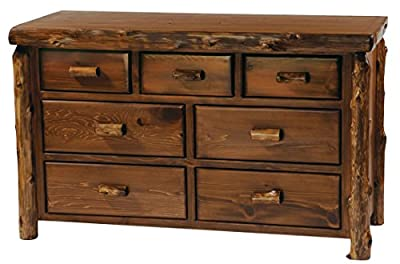 Fireside Lodge Furniture Cedar Hand Crafted Seven Drawer Chest With Half Log Drawer, Traditional Cedar, Value Line