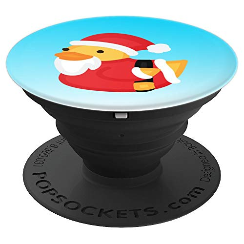 Christmas Duck Pops - Cute Santa Rubber Duckling Emoji Art - PopSockets Grip and Stand for Phones and Tablets