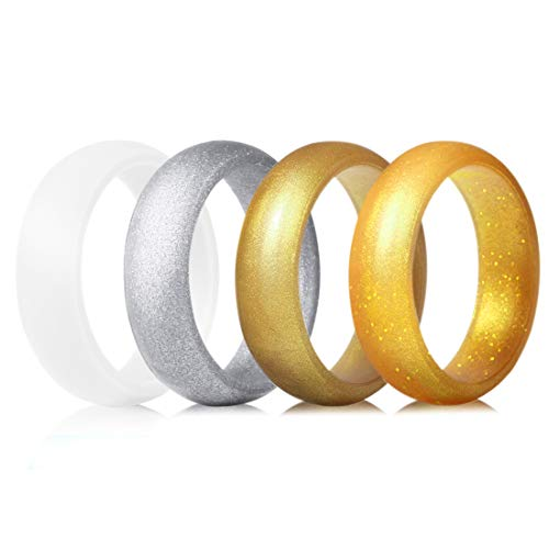 - QVOW Silicone Rings for Women, Thin, Affordable and Stackable Rubber Wedding Bands for Athletes, Workout, Fitness, GYM, Exercise, Metal Gold/Bright Silver/White/Gold with Gold Glitters, 5.0mm, Size: 5