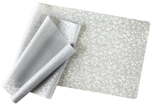- modern-twist Twine Pattern, Silver Color Silicone Rectangle Table Runner for Dining and Decoration, Modern Design Non-slip Heat Resistant
