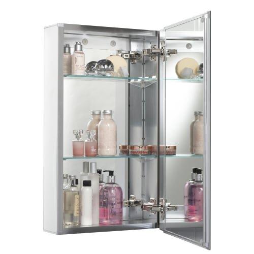 Jacuzzi PD45000 26'' H x 15'' W x 5-1/4'' D Single Door Medicine Cabinet, Silver Aluminum
