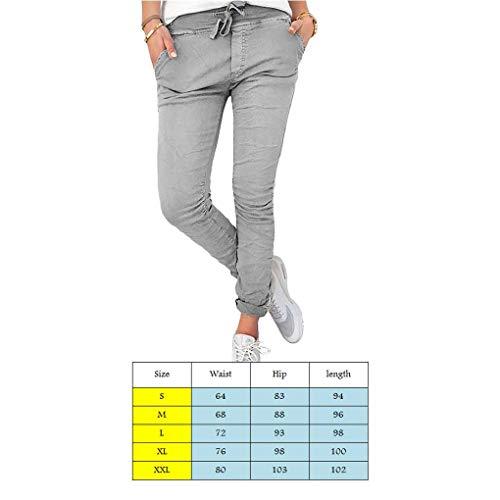 Dei Alta Matita Pantaloni Gray Vita Skinny Donna Increspati Solid Coulisse Con Tasca q4gvaUg