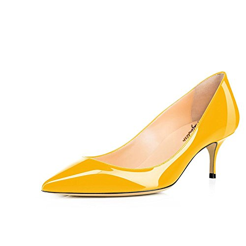 Kitten Office 1 Shoes Slip Toe Leather Yellow 2 Pumps 2 Maguidern Dress Stiletto On Inches Pointed Heels Patent Cw75BYqnxt