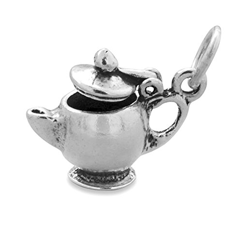 Corinna-Maria 925 Sterling Silver Teapot Lid Opens Charm 3d Comes with a Split Ring