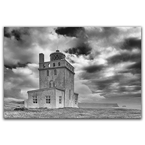 - Ocean Art Home Decor - Nautical Black and White Dyrhólaey Iceland Lighthouse Picture - Original Photograph, Ready to Hang Metal Print, Choice of 5 Sizes