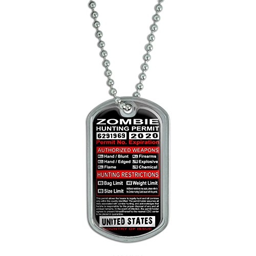 (Graphics and More United States Zombie Hunting License Permit - Military Dog Tag Luggage Keychain)
