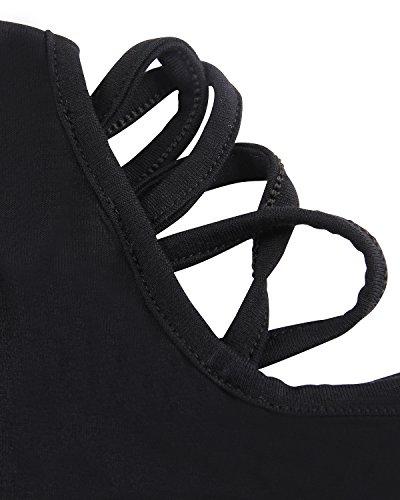 Gamiss Mujer Casual Blusa de Hombro Manga Corta Camisa Camisetas Tops Ocasional Verano Negro S a 2XL Negro