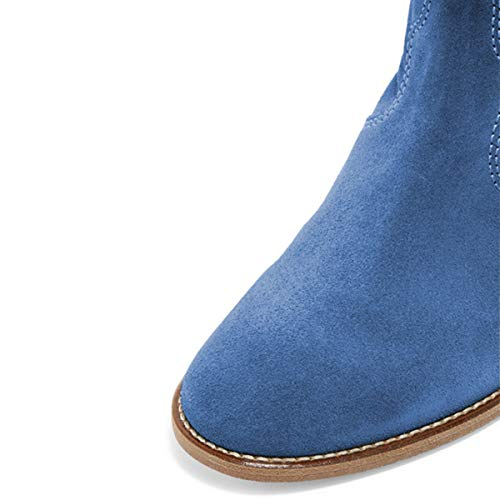 Low Heel Ankle Women Boots on YDN Blue Shoes Toe Pull Dress Stacked Boots Round UwZ4Eq5