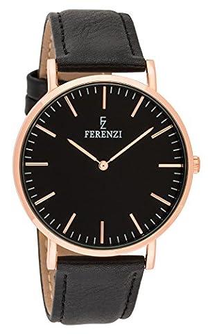 Ferenzi Unisex - FZ18602 - Classic Rose Gold-Tone and Black on Black Leather Watch (Vegan Leather Watch Man)