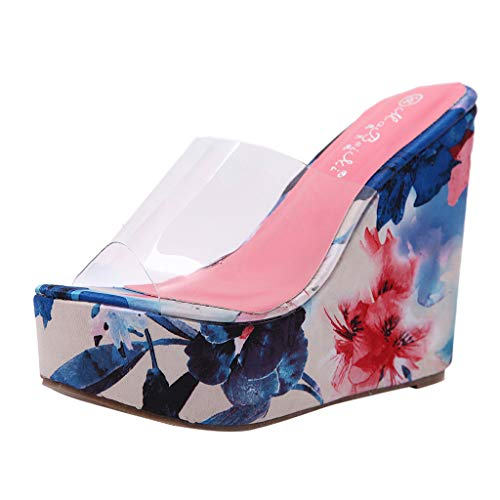 Women's Shoes Youngh Sexy Women's Transparent Wedges Slippers Thick Bottom Round Toe Platform Sandals Blue