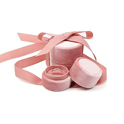 Pink Velvet Ring Box Blush Pink, Round Shape with Silk Ribbon, Engagement Ring Box, Wedding Ring Box, Wedding Photo Shoot, Engagement Photo Shoot, Bridal Gift, Jewelry Storage organizer