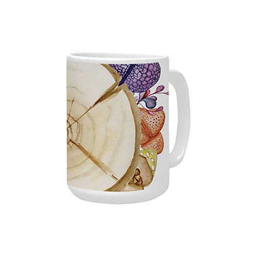 - Succulent Ceramic Mug,Wood Slice Tree Trunk with Cactus Plants Hand Painted Watercolor Style Artwork Decorative for Home,15OZ