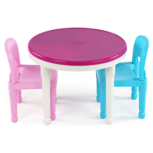 417ItlEXO0L - Tot Tutors Kids 2-in-1 Plastic LEGO-Compatible Activity Table and 2 Chairs Set, Bright Colors