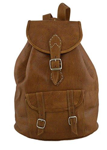 Moroccan Handmade Premier Leather Backpack Vintage Flap College Hiking Day Bag Brown ()