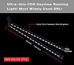 LEDKINGDOMUS 2x LED DRL 18SMD 5730 COB Car Auto DRL Daytime Running Light Waterproof (White) High Power 29W