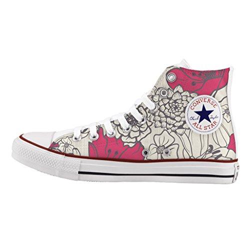 Converse Personalizzate All Star Alta - scarpe artigianali - stampa Seventies flowers